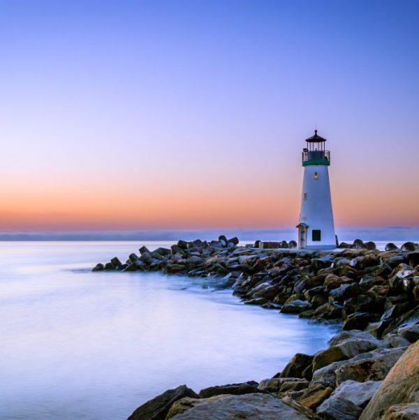 lighthouse on rocky shore