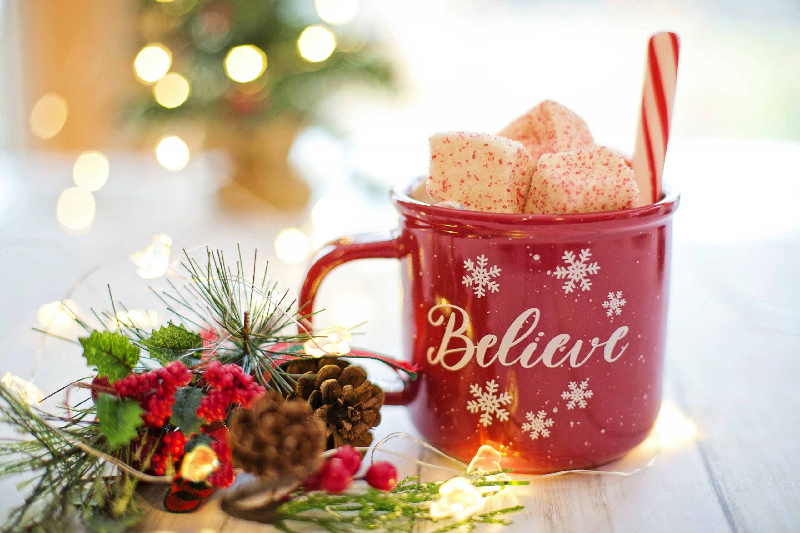 winter holiday mug and decor